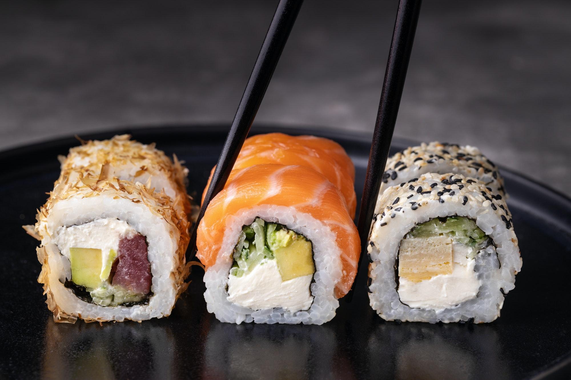 Sushi Rolls and Chopsticks.